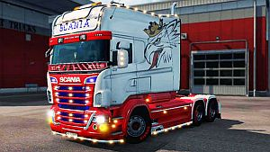 Red and White paint job for Scania RJL