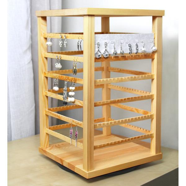 The Natural Wood Rotating Jewelry Earring Storage Display is perfect for displaying many pairs of earrings | NileCorp.com