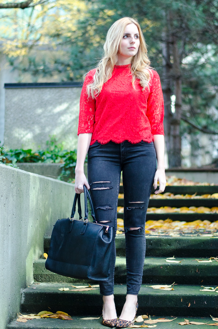 How to Style Red Lace, How to Style Ripped Jeans