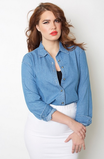 Classic Denim Button Down Shirt by Rebdolls Plus Size