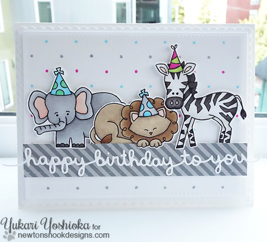 Zoo Animals Birthday Card by Yukari Yoshioka | Wild about Zoo stamp set by Newton's Nook Designs