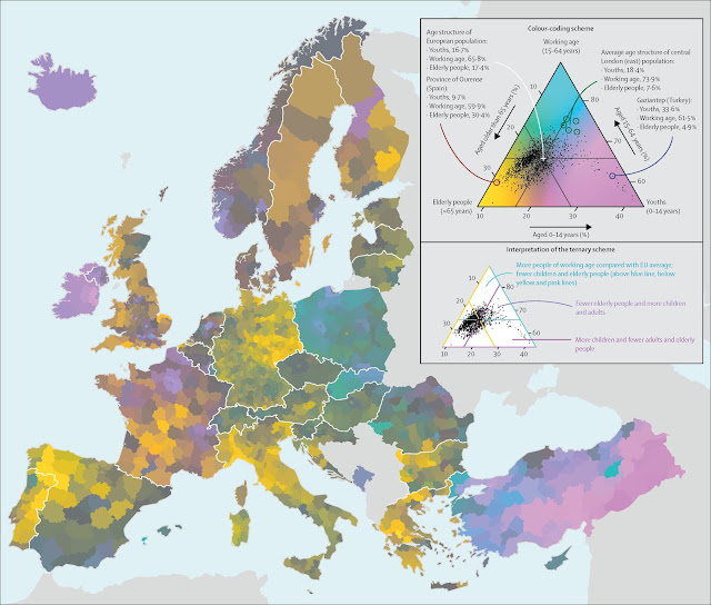Mapping the diversity of population ageing across Europe with a ternary colour scheme