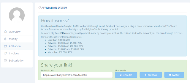 Babylon Traffic Affiliate System
