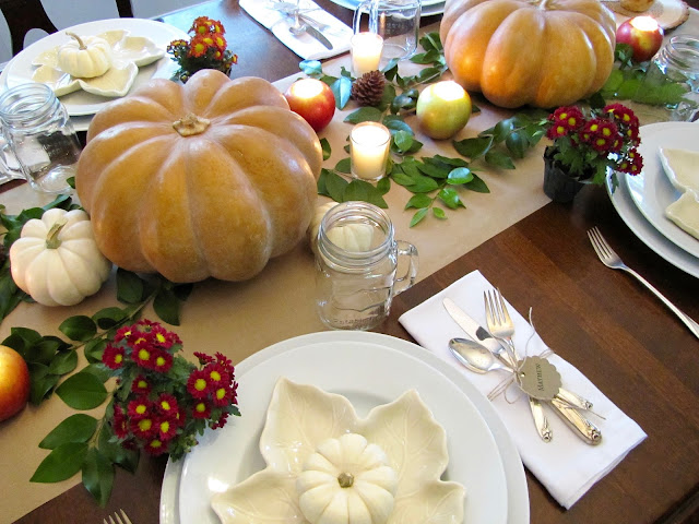 fall tablescape with apple candles
