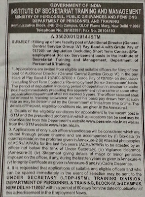 Additional Director Recruitment 2014 at New Delhi – ISTM