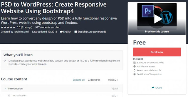 [100% Free] PSD to WordPress: Create Responsive Website Using Bootstrap4