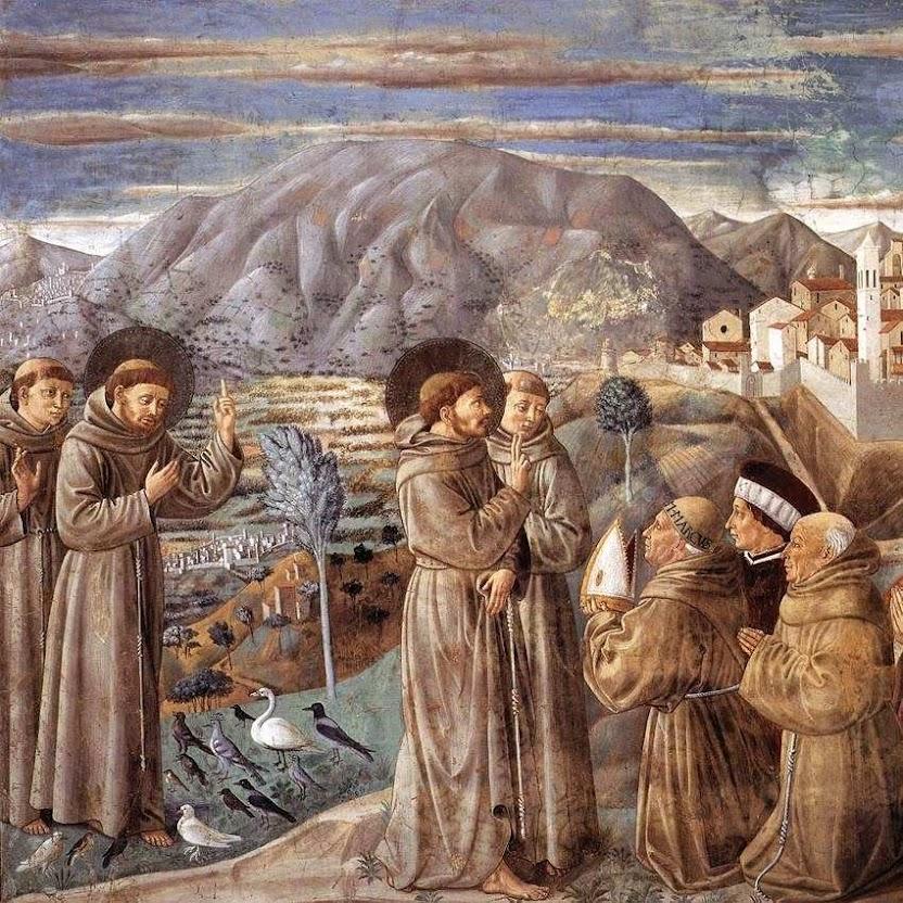 São Francisco pregando aos pássaros. Benozzo Gozzoli (1421 - 1497) Capela de Capela de São Francisco, Montefalco, Itália