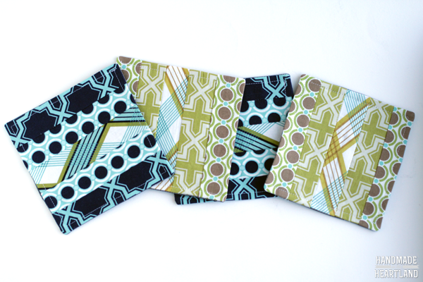 Striped Fabric Sewn Coasters, Great Gift Idea!