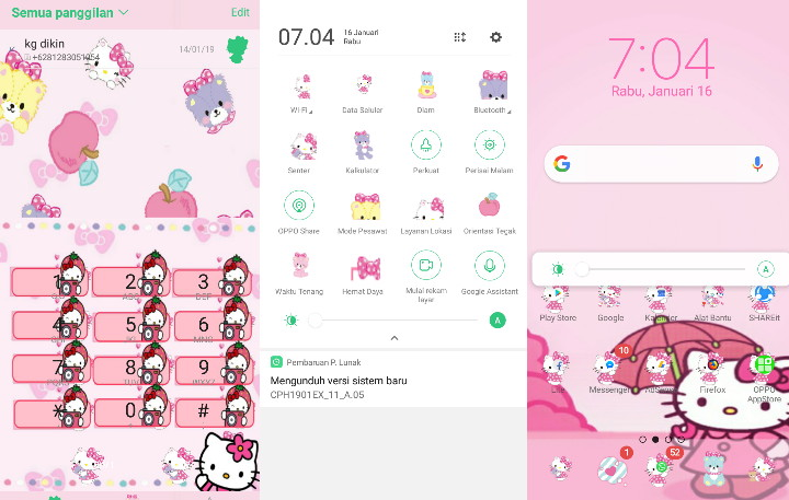 Download Tema Hello Kitty OPPO A3S A7 F7 F9 FIND X color Os 5 2
