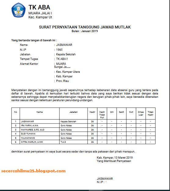 tampilan Surat Pernyataan Tanggung Jawab Mutlak (SPTJM) di DHGTK v.2.1 2019