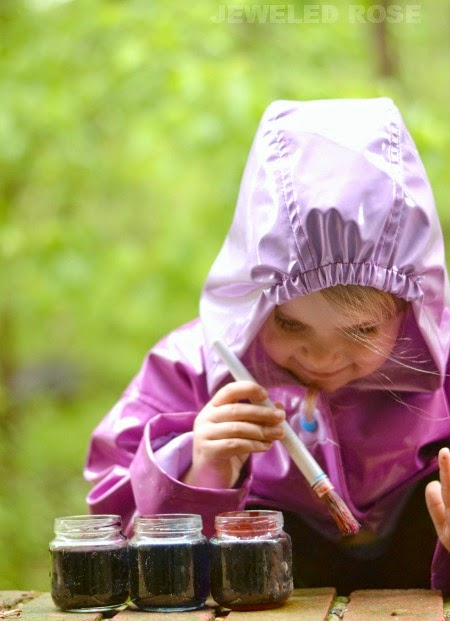 Make paint using rain as one of the ingredients and then use it to paint in the rain; a super fun activity for a rainy day!