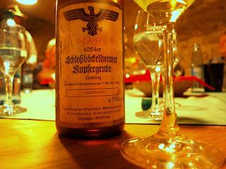 A 1984 vintage of Riesling from the Schloßböckelheimer Kupfergrube vineyard. Weinbaudomäne Niederhausen-Schloßbockelheim, Nahe