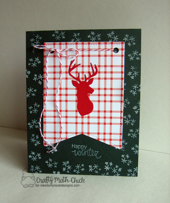 Happy Winter card by Crafty Math-Chick | Splendid Stags Die set by Newton's Nook Designs #newtonsnook