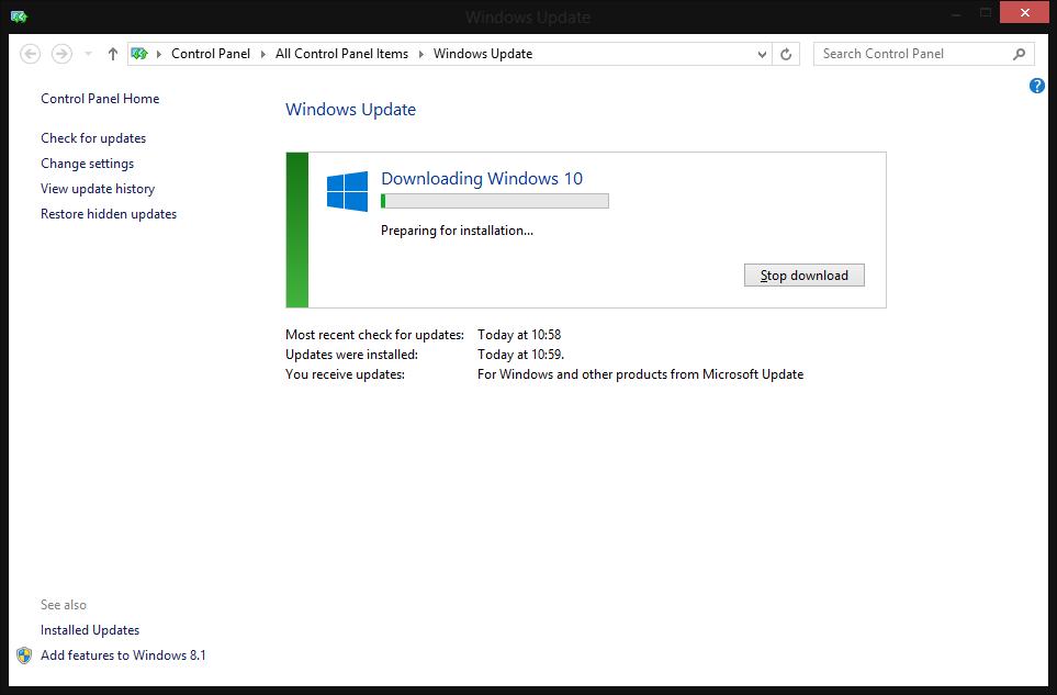 run windows update manually windows 10