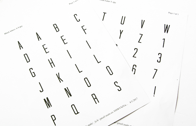 Alphabet printable letters for Dollar tree desktop calendar