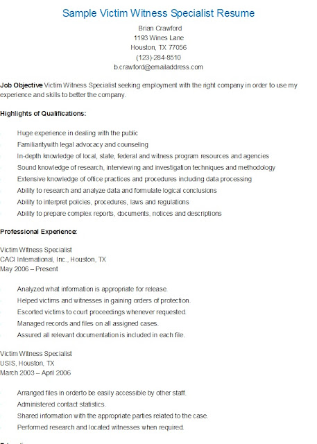 resume samples  sample victim witness specialist resume