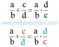 Formula of division of fractions. Mathematics For Blondes.