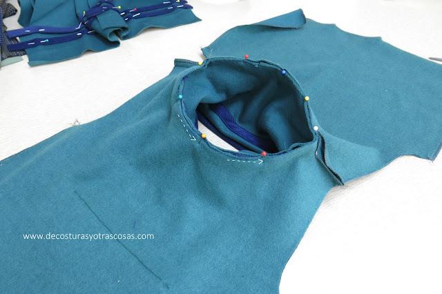 proceso de confección sudadera con cuello grande