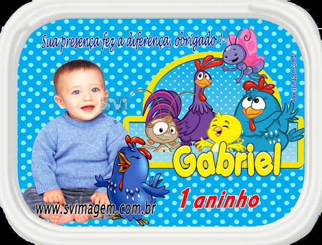 adesivo personalizado para tampa de marmtinha da galinha pintadinha com azul bom poá