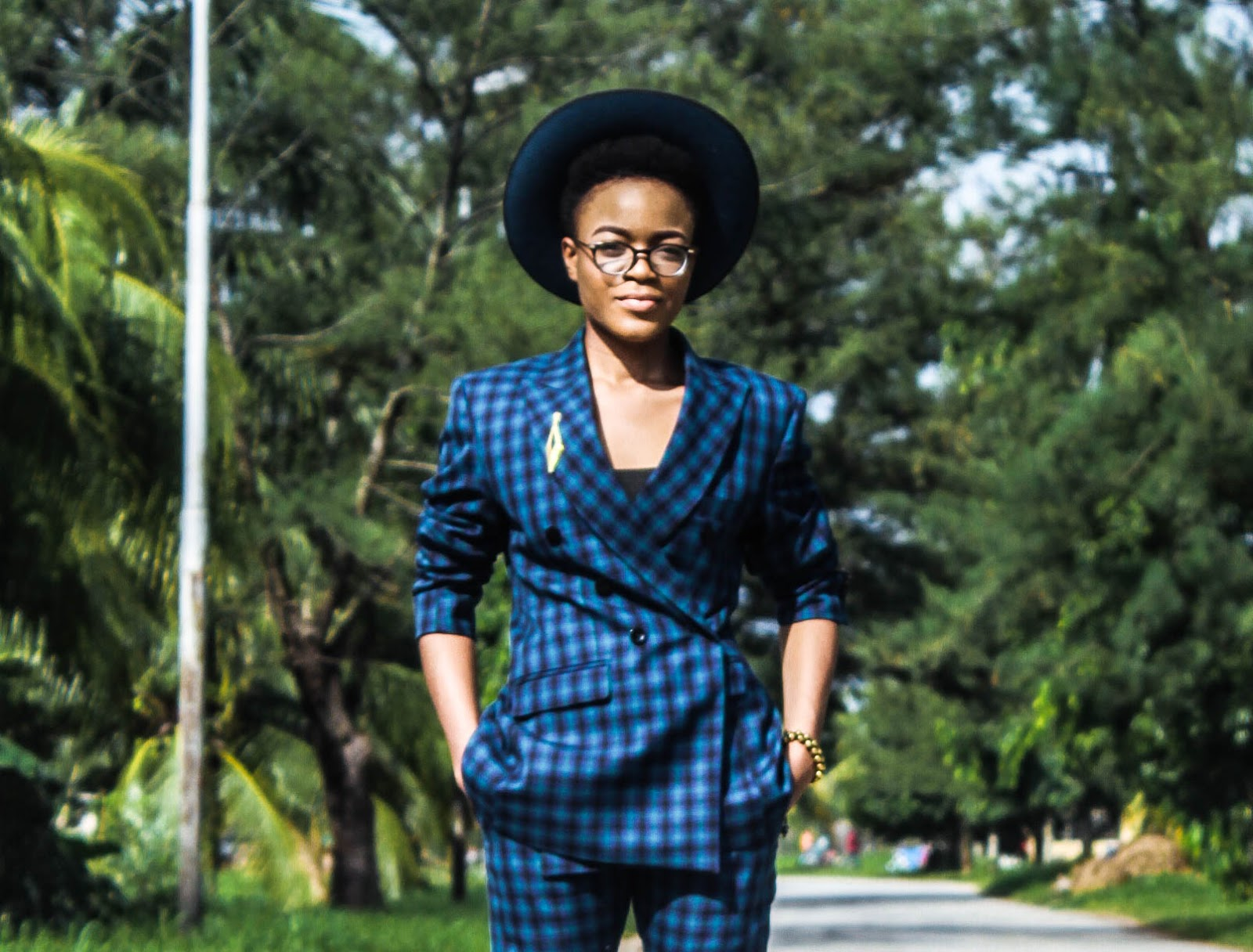 androgynous look in plaid two (2) piece suit, tomboy look, plaids suit womens