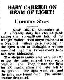 Child Abducted by Beam of Light in 1937 India - The Northern Miner 9-27-1937