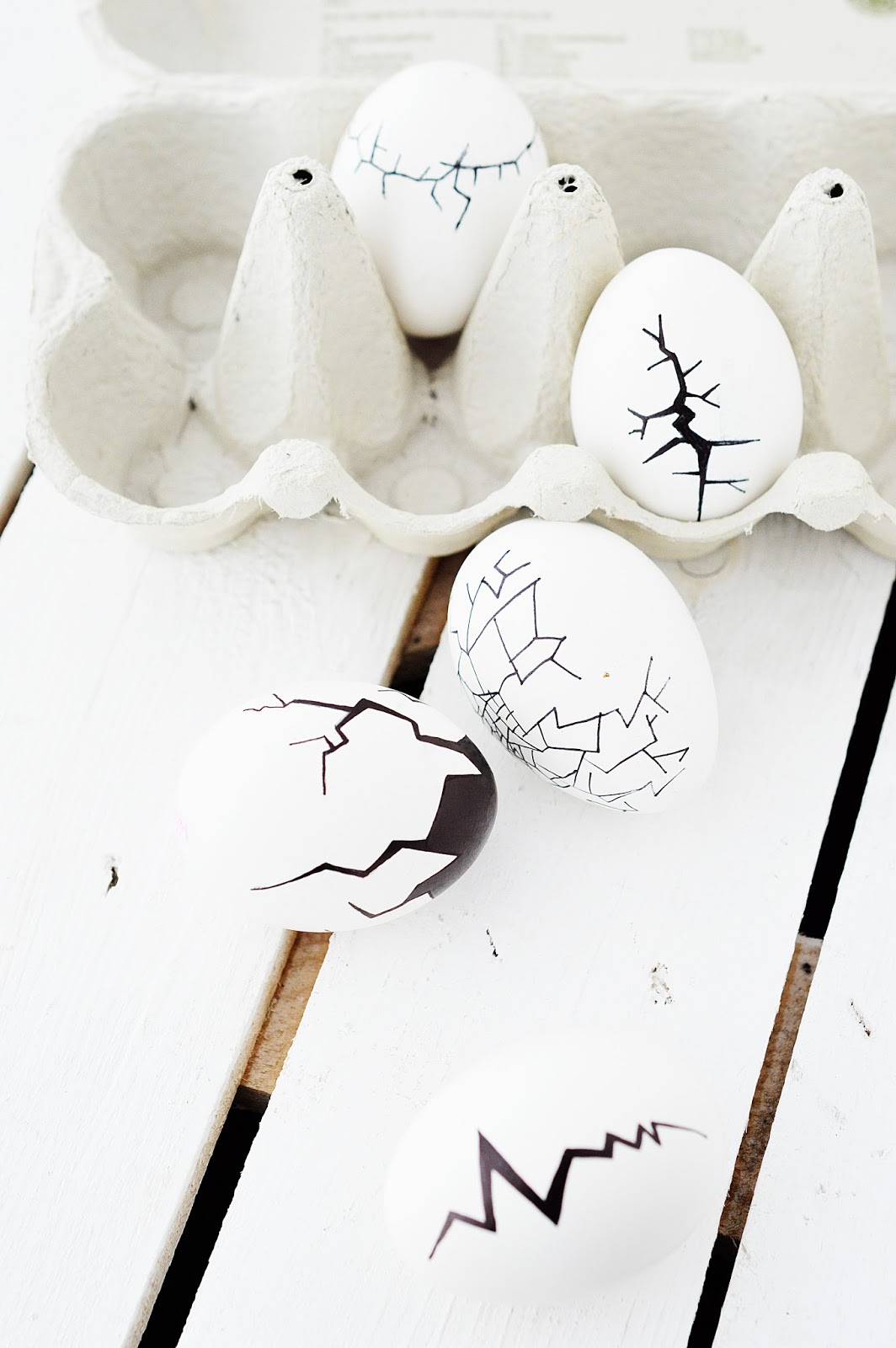 Easter eggs painted with cracks using a marker