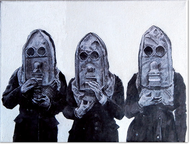 three women in gasmasks by paintwalk