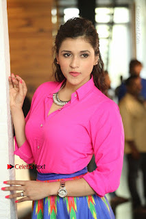 Actress Mannar Chopra in Pink Top and Blue Skirt at Rogue movie Interview  0131.JPG