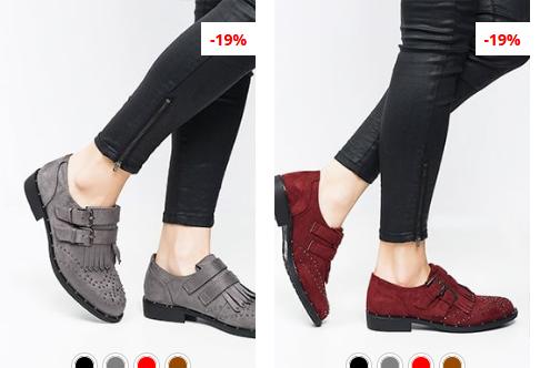Pantofi casual gri, rosii din piele eco itnoarsa la reducere