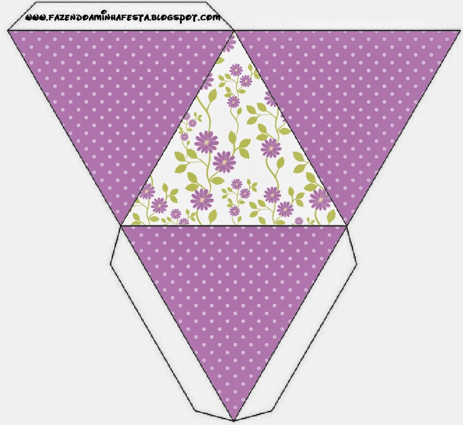 Caja con forma de pirámide de Flores Moradas.