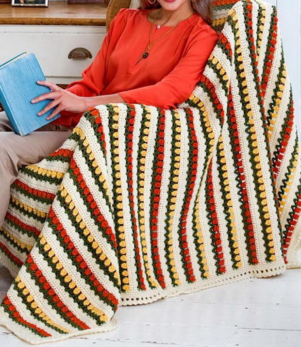 Crochet Throw Blanket -Tulip Stitch - Free Crochet Pattern