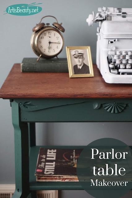 westminster green antique parlor table makeover