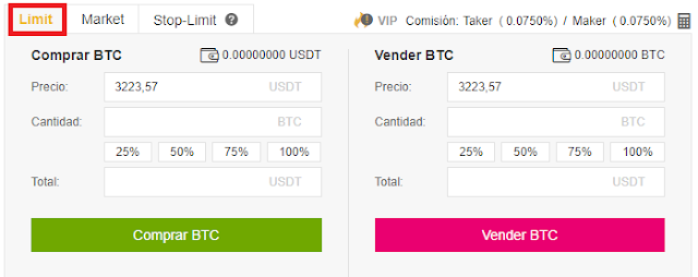 odenes en limit binance