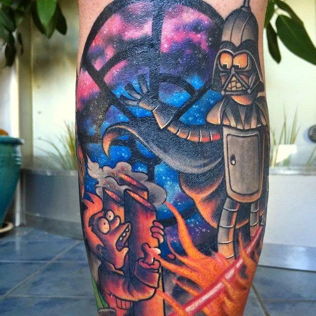 Futurama tattoo of star wars