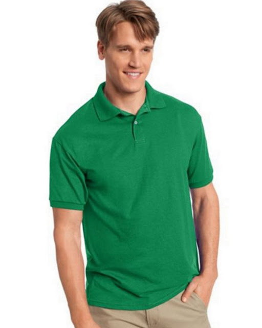 Hanes 054X Mens Comfortblend Jersey Polo -Kelly Green – S