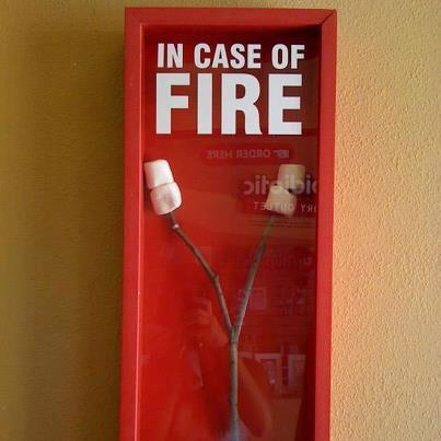 Funny In case of fire... marshmallow picture
