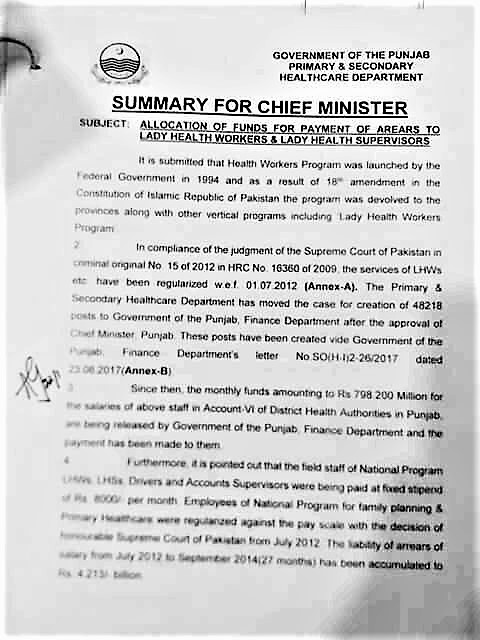 SUMMARY FOR CHIEF MINISTER PUNJAB FOR ALLOCATION OF FUNDS FOR PAYMENT OF ARREARS TO LADY HEALTH WORKERS & LADY HEALTH SUPERVISORS