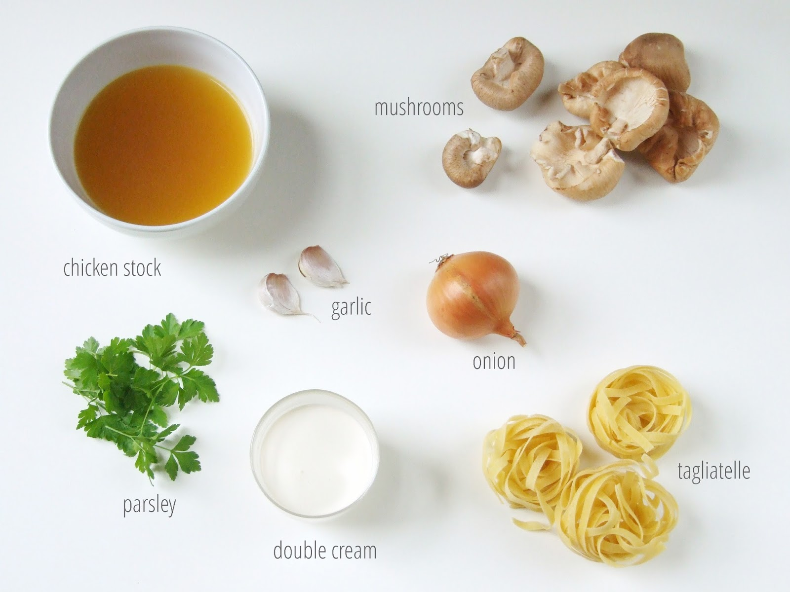 Ingredients for Creamy Garlic Mushroom Pasta.