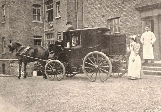 Patient arriving in ambulance at Cork Street Fever Hospital, Dublin, Ireland, 1896