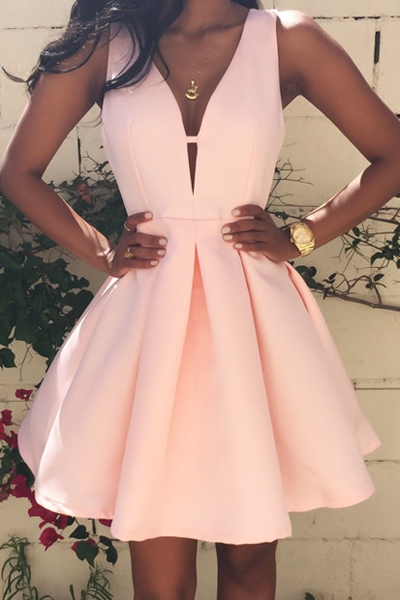 Plunging neck pink dress