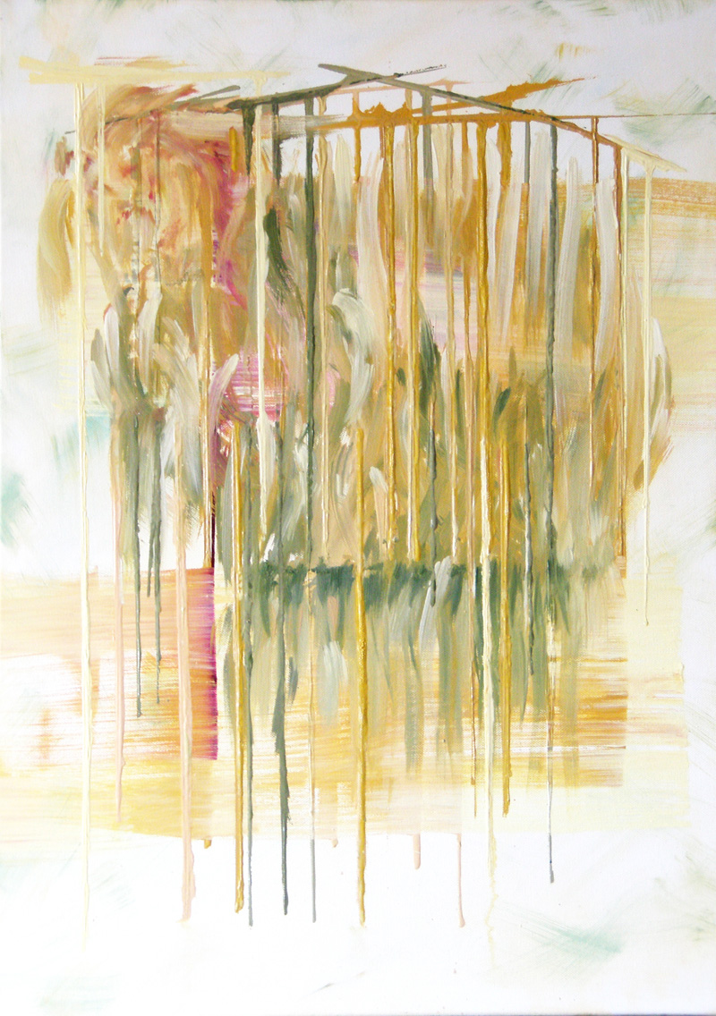 organic abstract oil painting, contemporary art, yellow, green, white, brushstrokes, dripping pouring paint