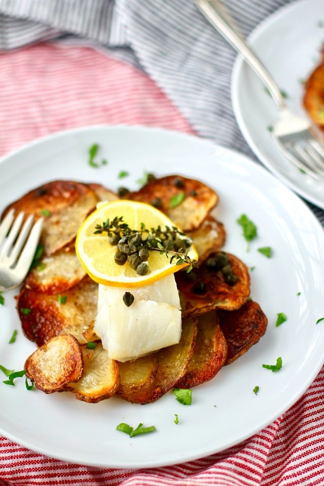 Sheet Pan Baked Cod on Crispy Garlicky Potato Rafts