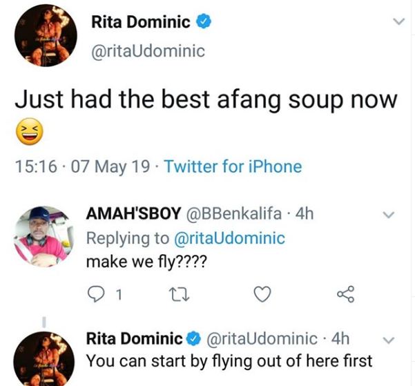 Between Rita Dominic, a troll and her Afang soup. Check out this funny tweets