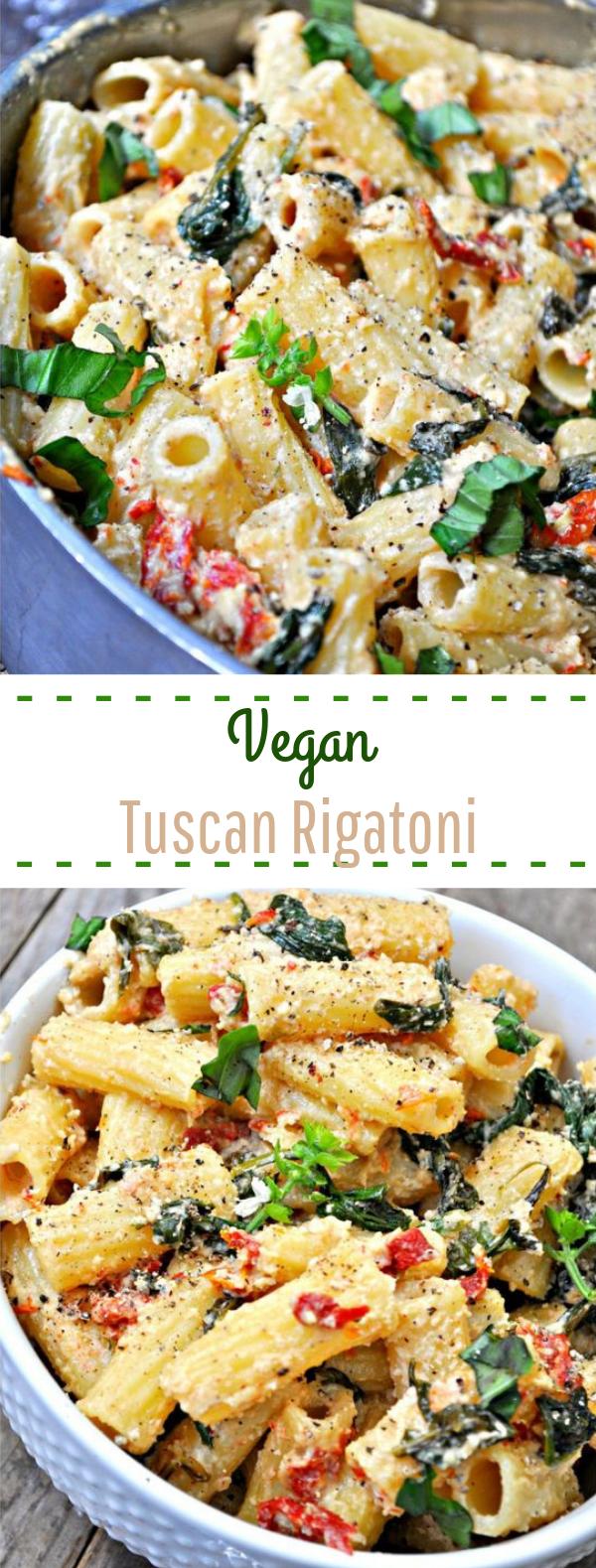 Vegan Tuscan Rigatoni #pasta #vegetarian
