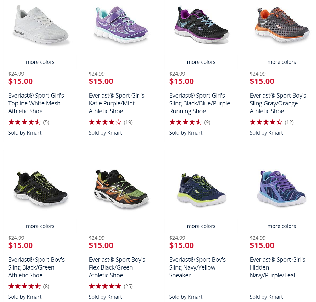 Kmart: Kids Athletic Shoes $15 + 20% Off + Earn $20 Points