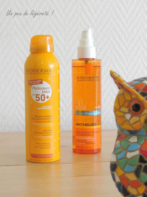 Produits solaires : brume solaire SPF50+ Bioderma et huile solaire nutritive SPF30 La Roche-Posay