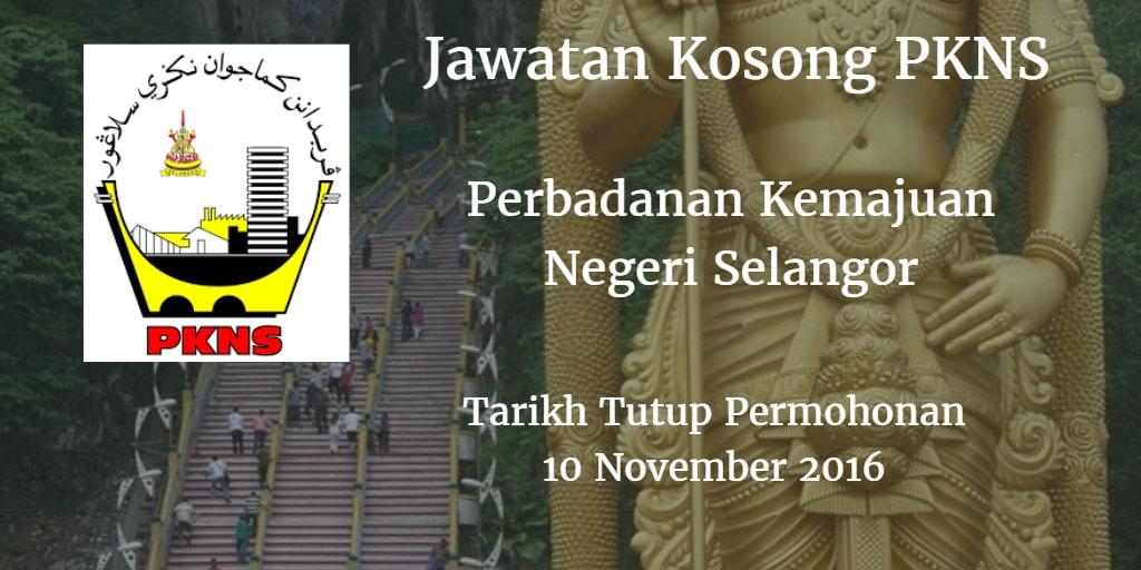 Jawatan Kosong PKNS 10 November 2016