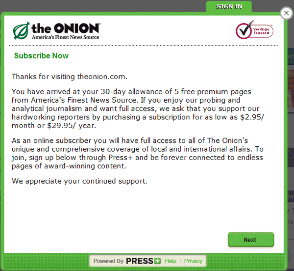 The Onion Paywall