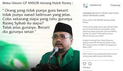 Ketum GP Ansor: Habib Rizieq Tidak Jelas Gurunya, Dia Gurunya Setan