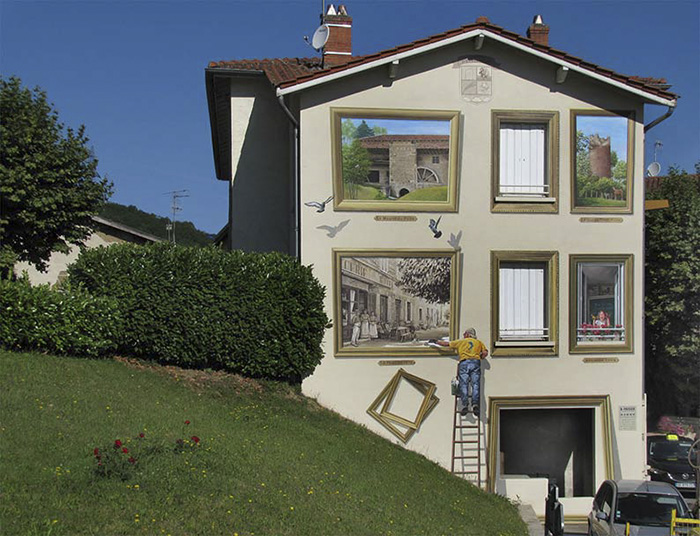 French Artist Transforms Boring City Walls Into Vibrant Scenes Full Of Life - Tableaux d'Eyzin-Pinet